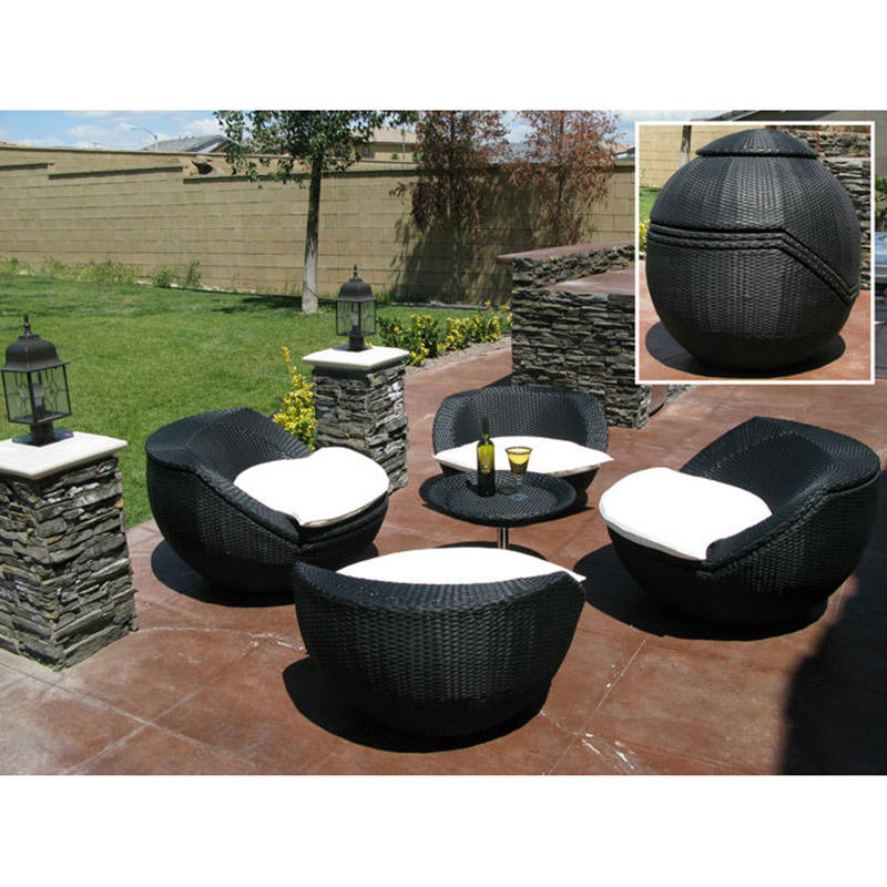 Garden Synthetic Ball Rattan Outdoor Furniture Luxury KD Assemble Flat Pack Furniture