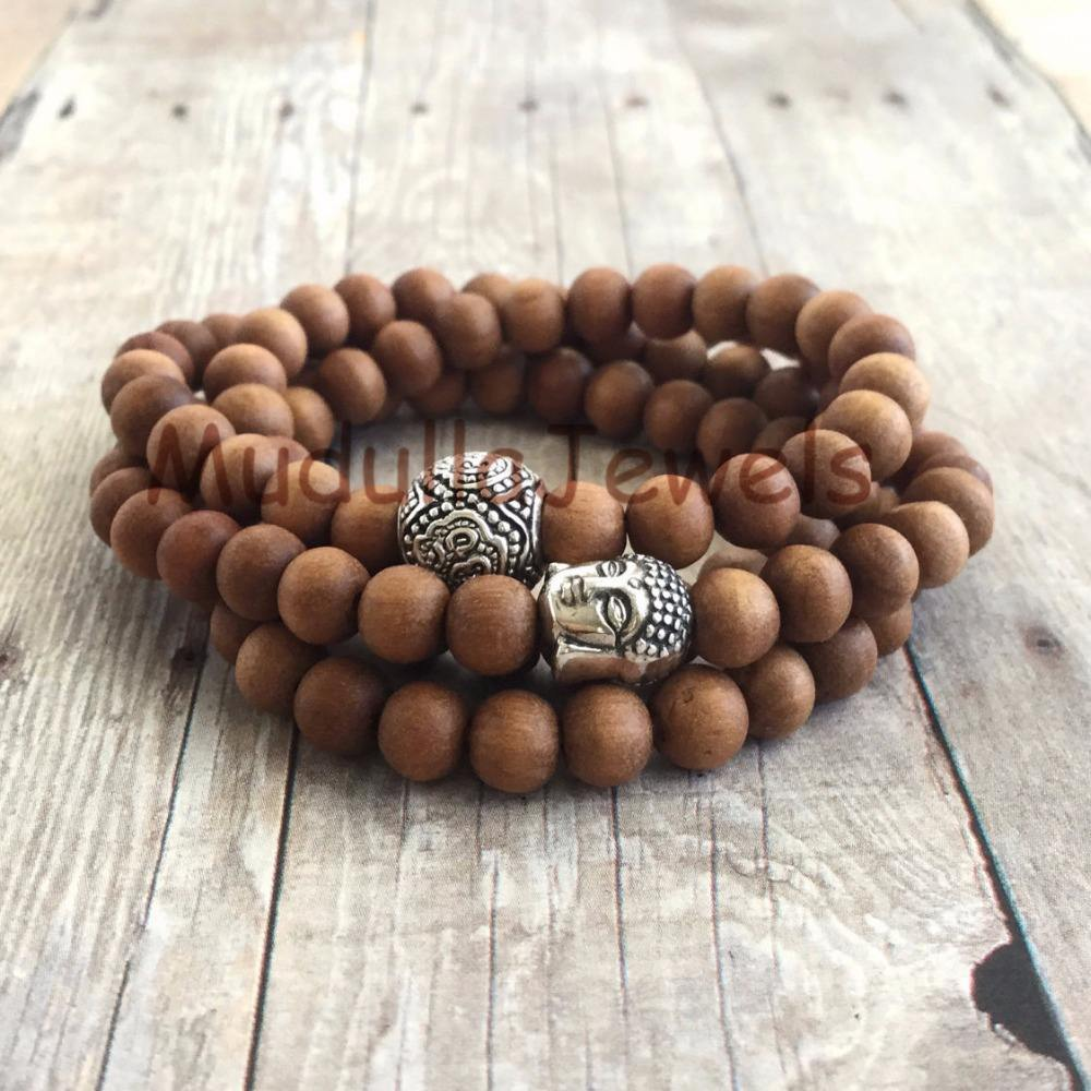 WMB18355 Sandalwood 108 Mala Women's or Men's Wood Necklace or Wrap Bracelet Buddha & Om Meditation Jewelry