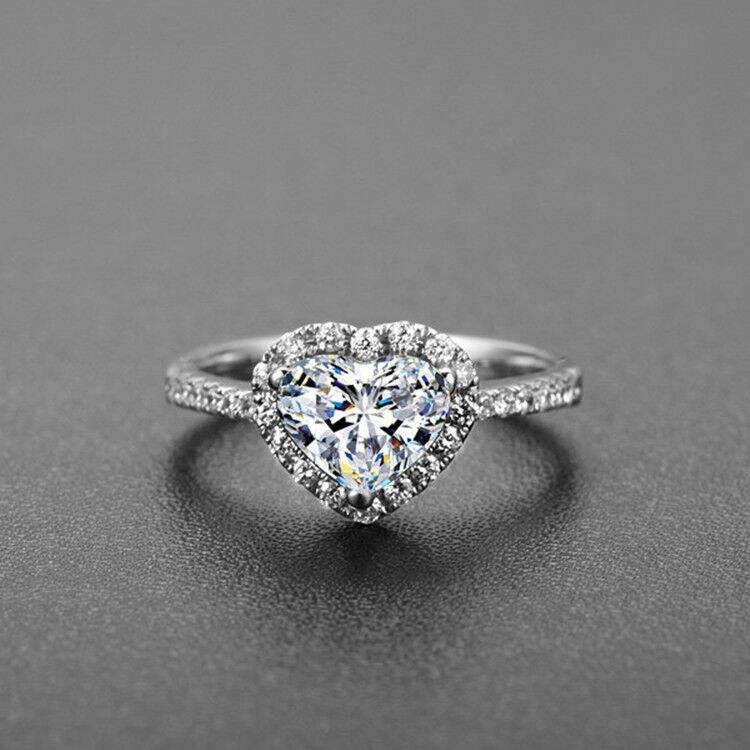New Fashion Exquisite Promise Jewelry Eternal Love Heart Ring Size 5-11White CZ Wedding Heart Rings For Women Girls