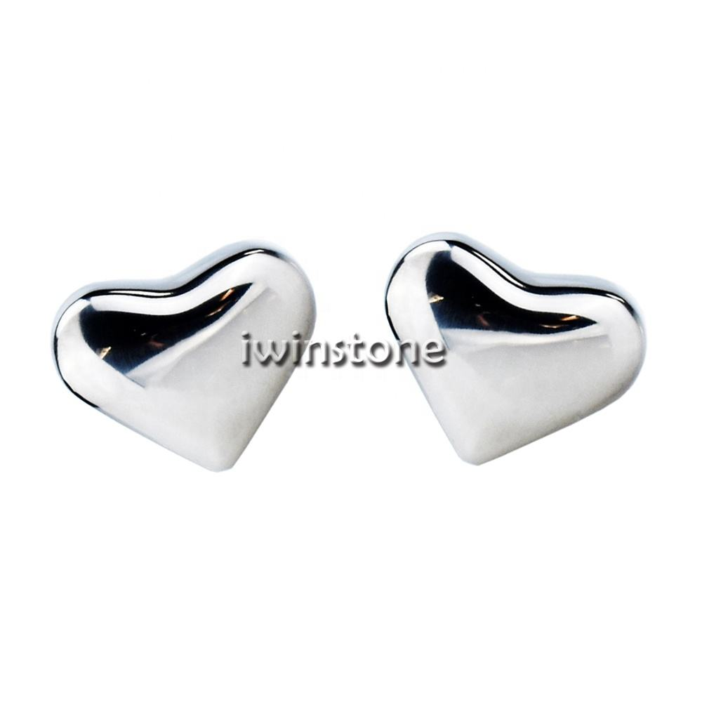 Heart Shaped Stainless Steel Metal Whiskey Stones Ice Cube For Wine