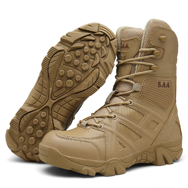 Men Army Tactical Outdoor Sports Camping waterproof Hiking Work Combat German Military Boot High Top Desert Leather Shoes