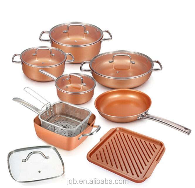 9.5 Inch Stainless Steel Ceramic Copper Coated Cookware Square Skillet Set