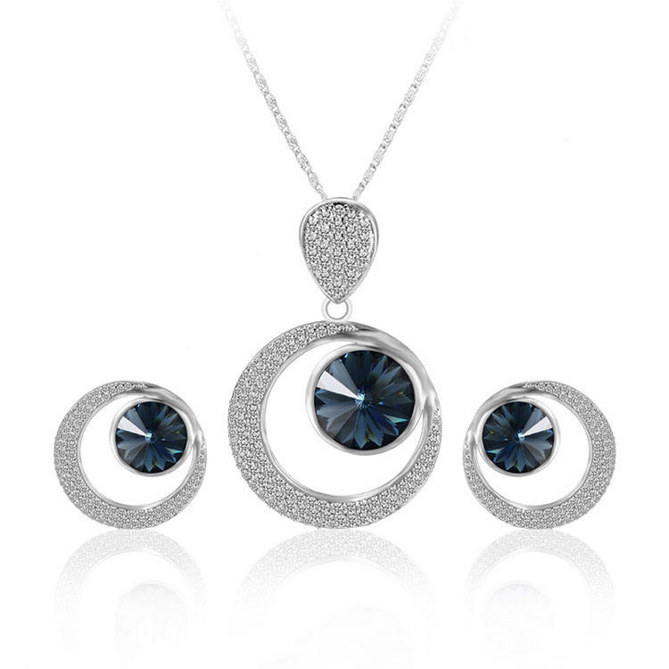 XS6112 xuping crystals from Swarovski circle silver color jewelry set