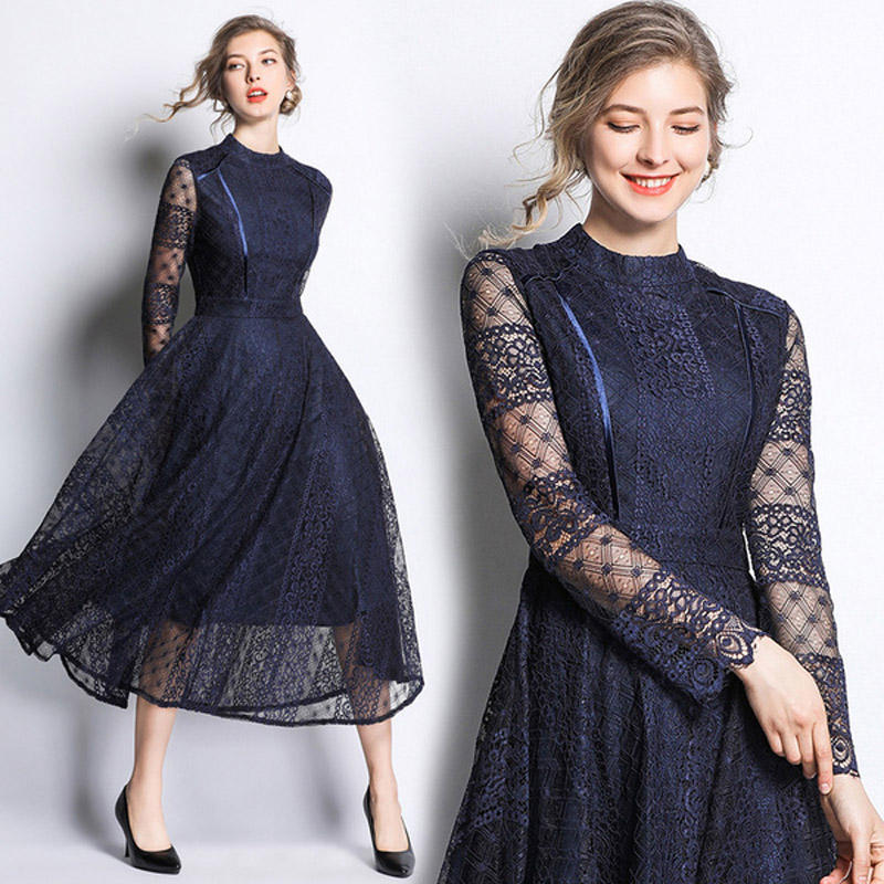 Spot XC5786065#2019 fashion new star with the same paragraph retro base big swing lace dress