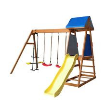 Children garden patio swing seat set with slide