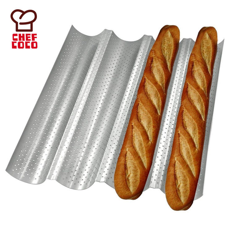 Professional non-stick 4 gutters silver wave baguette pan French bread pan