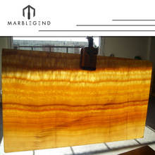 Luxurious decorative backlit wall panel resin yellow honey onyx