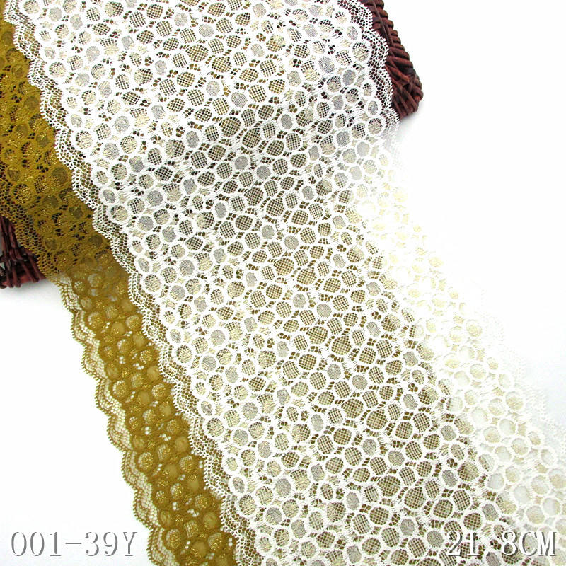 Lemon curry lace 22cm off-white jacquard elastic lace