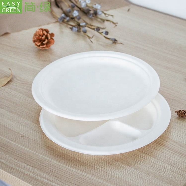 Easy Green 9 inch Round White Dessert Bagasse Sugarcane Biodegradable Corn Starch Disposable Plate