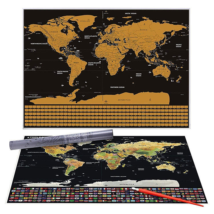 New product 2018 luxury scratch off world travel map poster