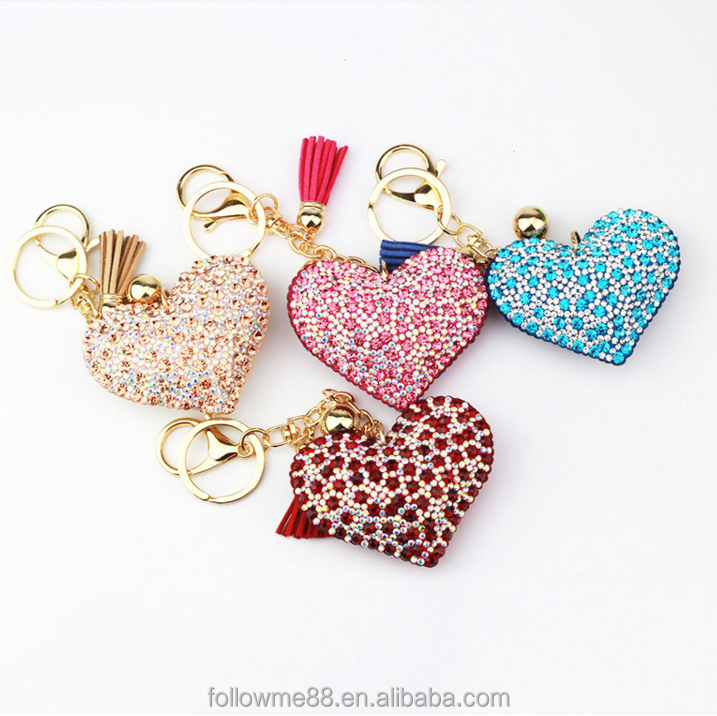 2018 Hot sale Valentine's Day gift rose flower rhinestone heart pendant keychain for girls couple