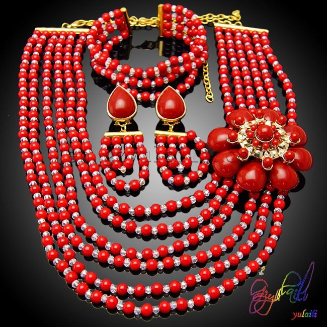 Chile bridal merah putih beads jewelry set coral beads jewelry set dijual massal noblel kostum perhiasan set