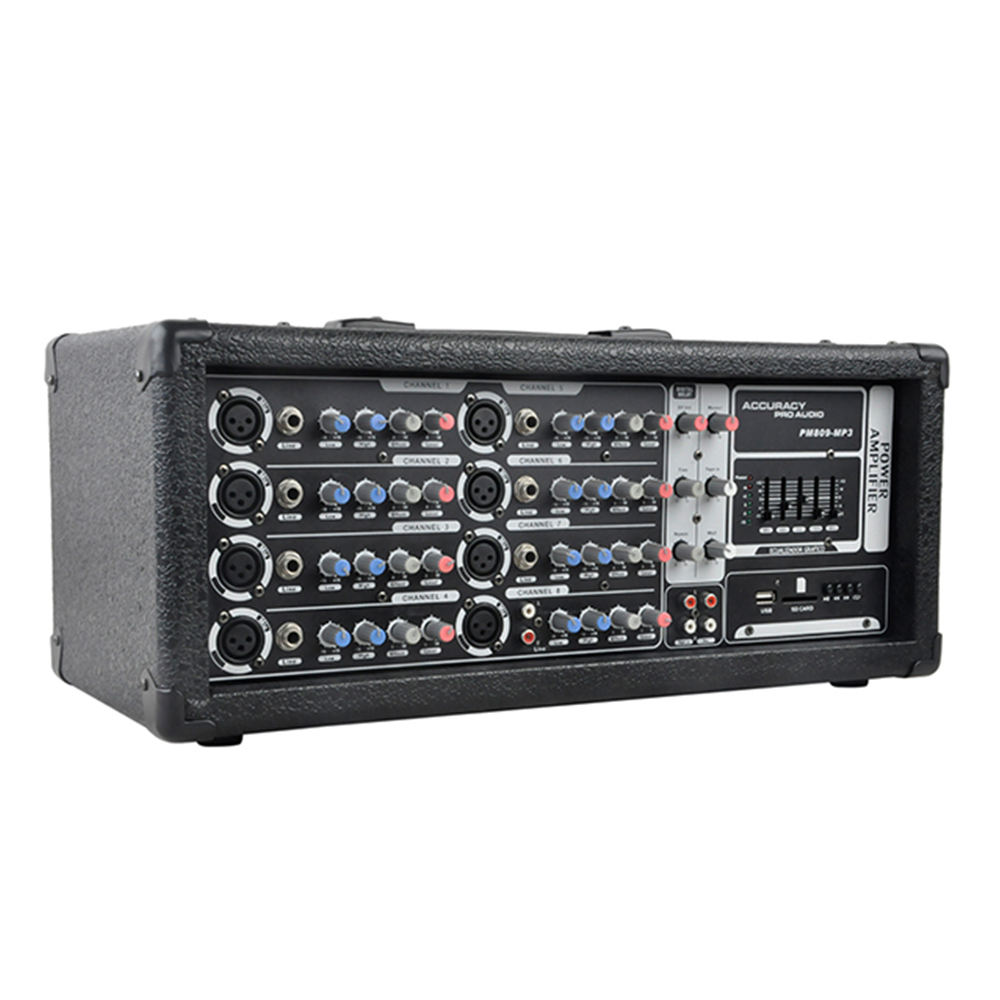 8 eingang Powered DJ Mixer Konsole Mischer Verstärker PM809-MP3