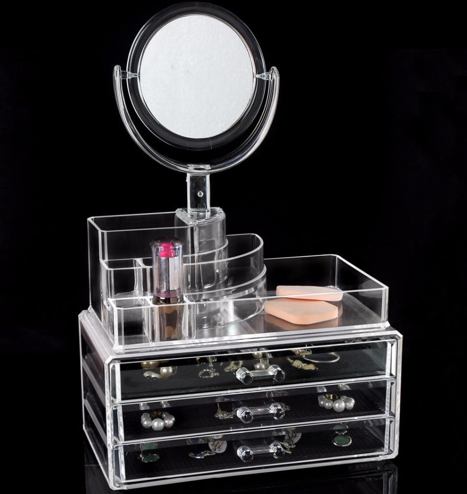 3 4 5 6 Drawers Cosmetic Store Acrylic Display Holder Rotating Mirror Makeup Organizer