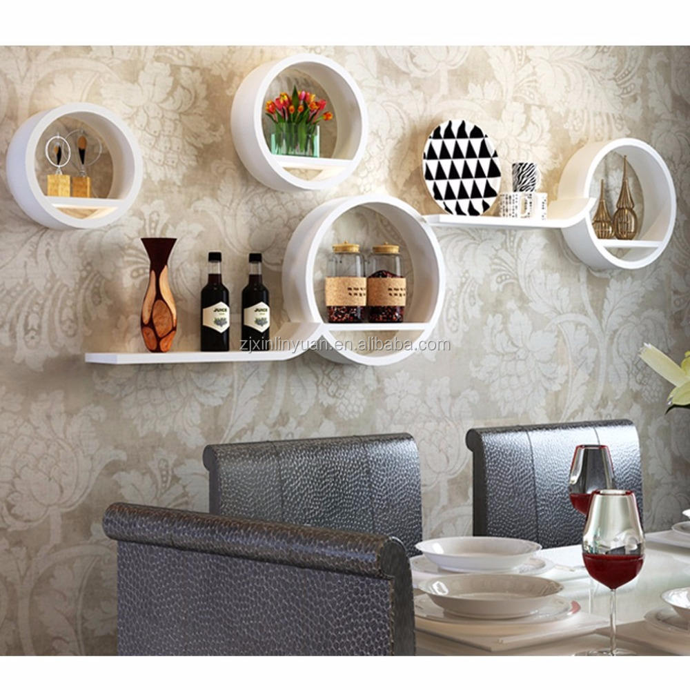 Modern wooden Round decorative display Wall Shelf Set of 4