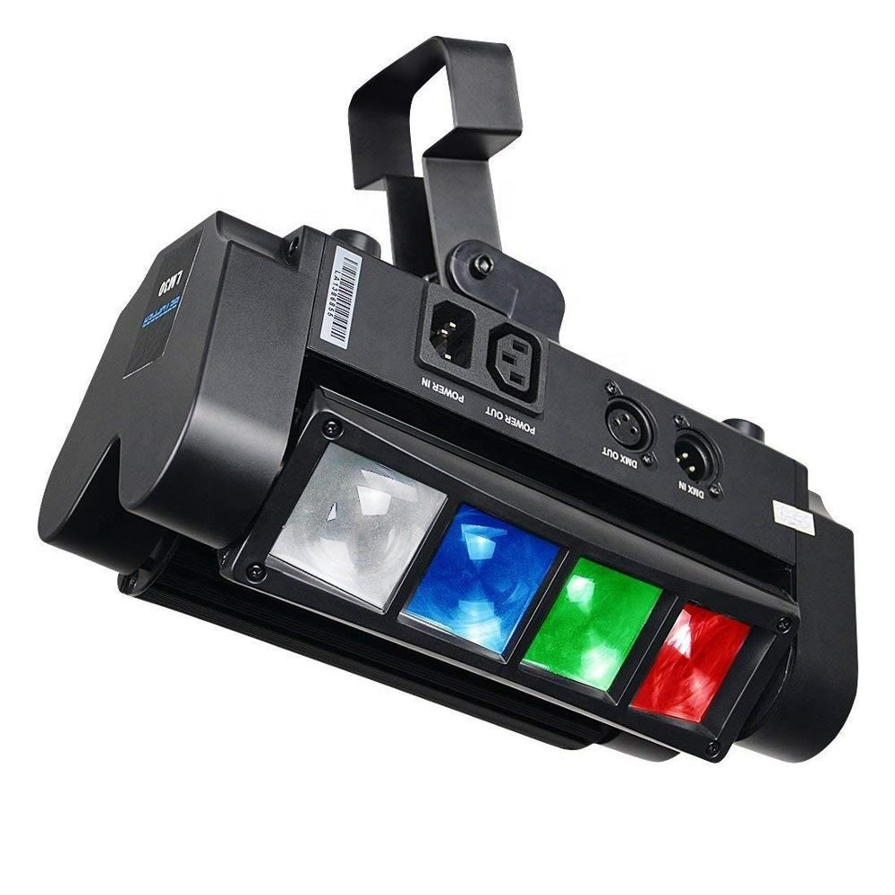 Spider Moving Head Light RGBW, 8 x 3W LED Lighting DMX 512 Dual Sweeper Pulse Strobe Effect for DJ Live Concert Lighting
