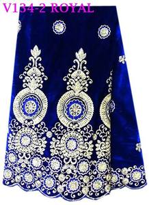 2015 african high quality African big embroidered Velvet lace soft for party wedding dresses and clothing