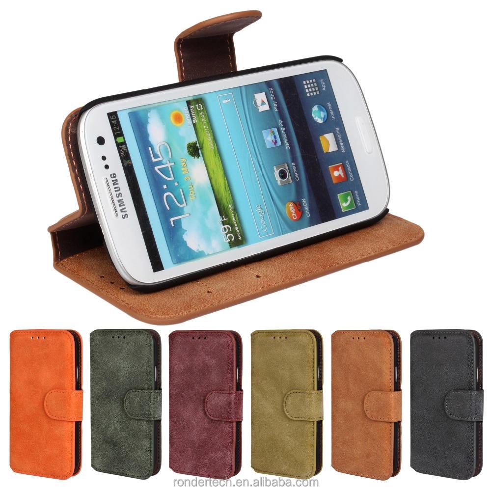 Alibaba magnétique Flip Cover avec titulaire de la carte, Gommage en cuir Wallet Case pour Galaxy S3 I9300
