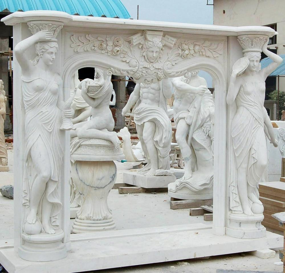Hand Carved Stone Fireplace mantel Surround With figures