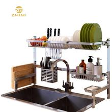 Multifunctional Folding Home Storage Over The Sink Two Tiers 304 Stainless Steel Dish Drainer Rack