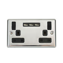 2 gang 3 USB 3.1 A Brushed Steel Double Switched uk socket wall plug