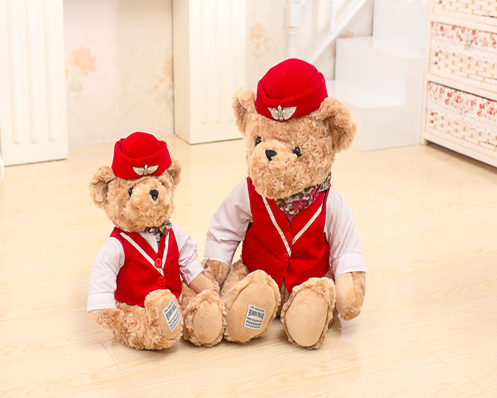 20/30/45/55cm cute beautiful customized plush Stewardess/Air hostess bear doll toy with red hat&uniform