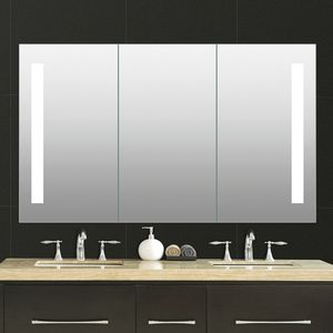 Modern Wall Mounted Mirrored Bathroom Vanity LED Light Medicine Cabinet With Touch Sensor Mirror Cabinet
