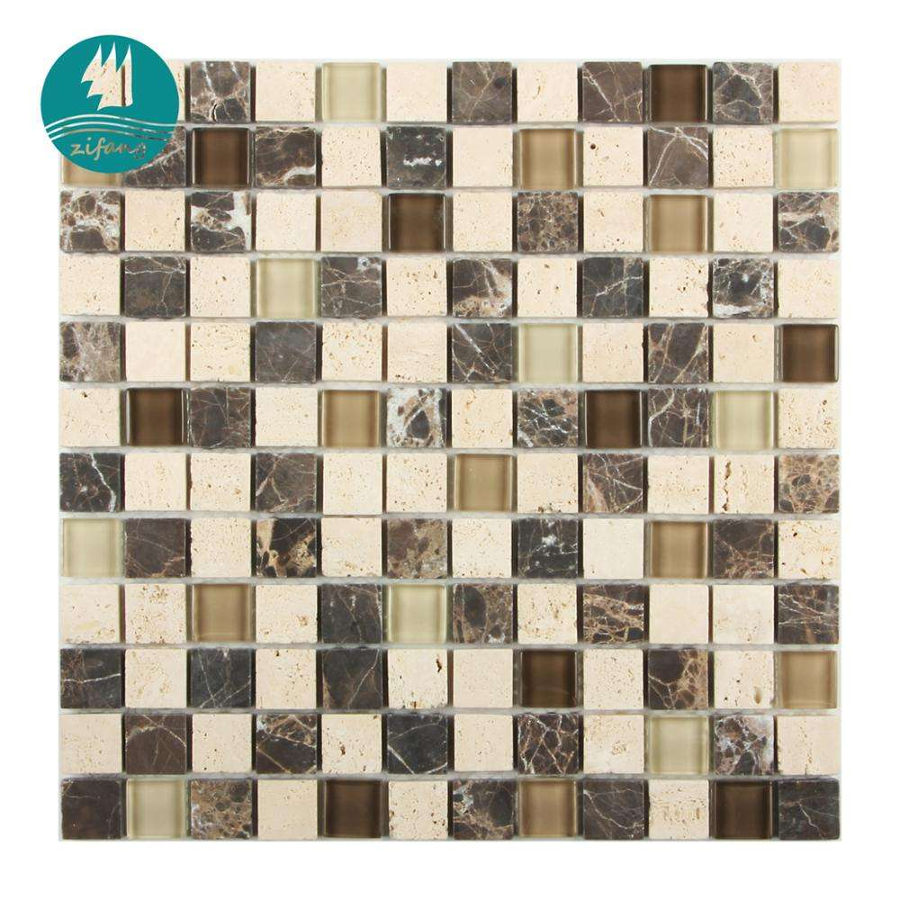 Multi-color assorted marble stone&glass mosaic tiling