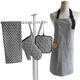 Customized fashion plain striped kitchen sets of apron , potholders , oven mitts