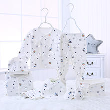 Newborn Baby 9pcs Cotton Clothing Set cap Bib Pajamas Pants mittens Infant Care Gift 0-3 M