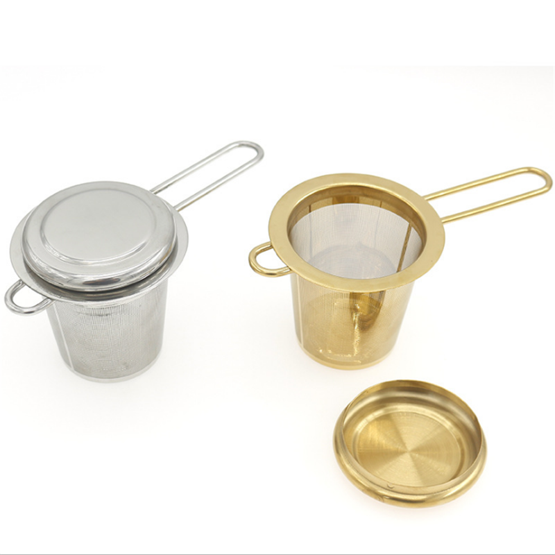 Food grade silvery and golden color stainless steel tea strainer