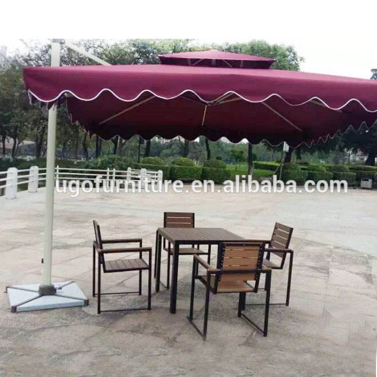 2018 latest aluminum restaurant cafe bistro wpc plastic wood table and chairs set with umbrella for outdoor