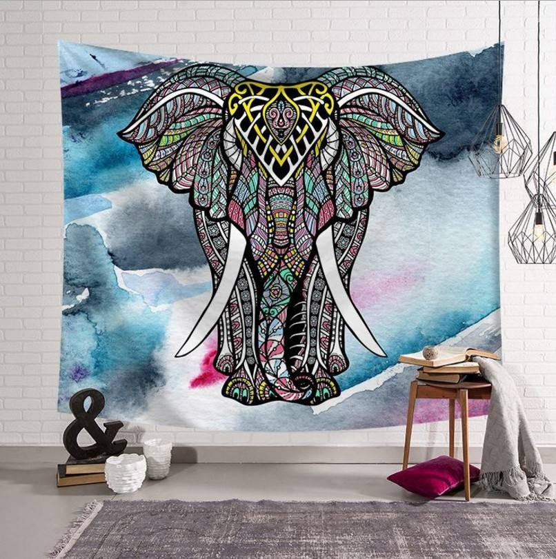 Home India Colorful Elephant Mandala Tapestry Wall Hanging