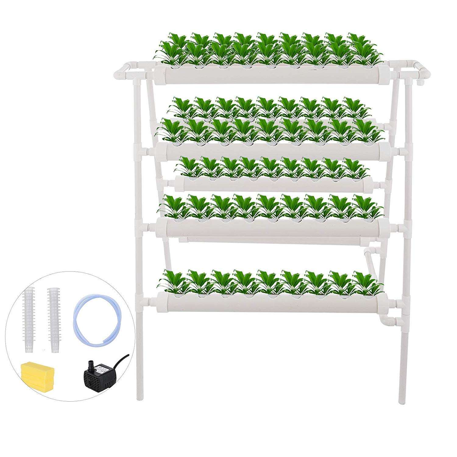 Hydroponics Nft System with 72 Holes Kits,Vertical Hydroponics PVC Pipe Plant Vegetable