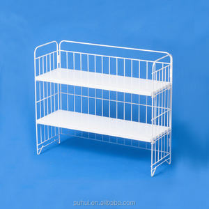 foldable adjustable 2 layers steel shelf metal wire home storage holder for desk top organizing