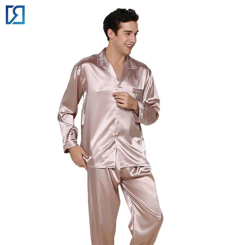 Hot Sale Top Mens Silk Pajamas Set Sleepsuit Loungewear Great Sleepwear Red Size