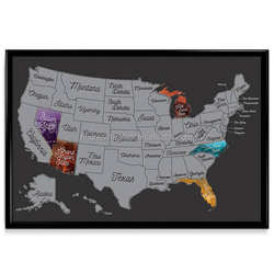 United States Scratch Off Vibrant Color Travel Map (SILVER)