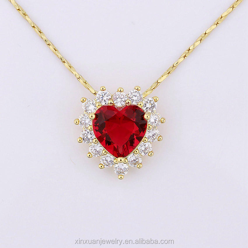 18k Gold Red Ruby Diamond Heart Choker Necklace for Gift