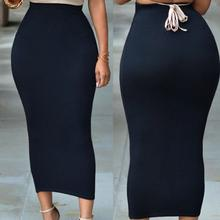 Plus Size XXL 2020 Wholesale Long Women Pencil Skirt Black High waisted Bodycon Office Maxi Skirts E71188 Work Wear Maxi Skirt