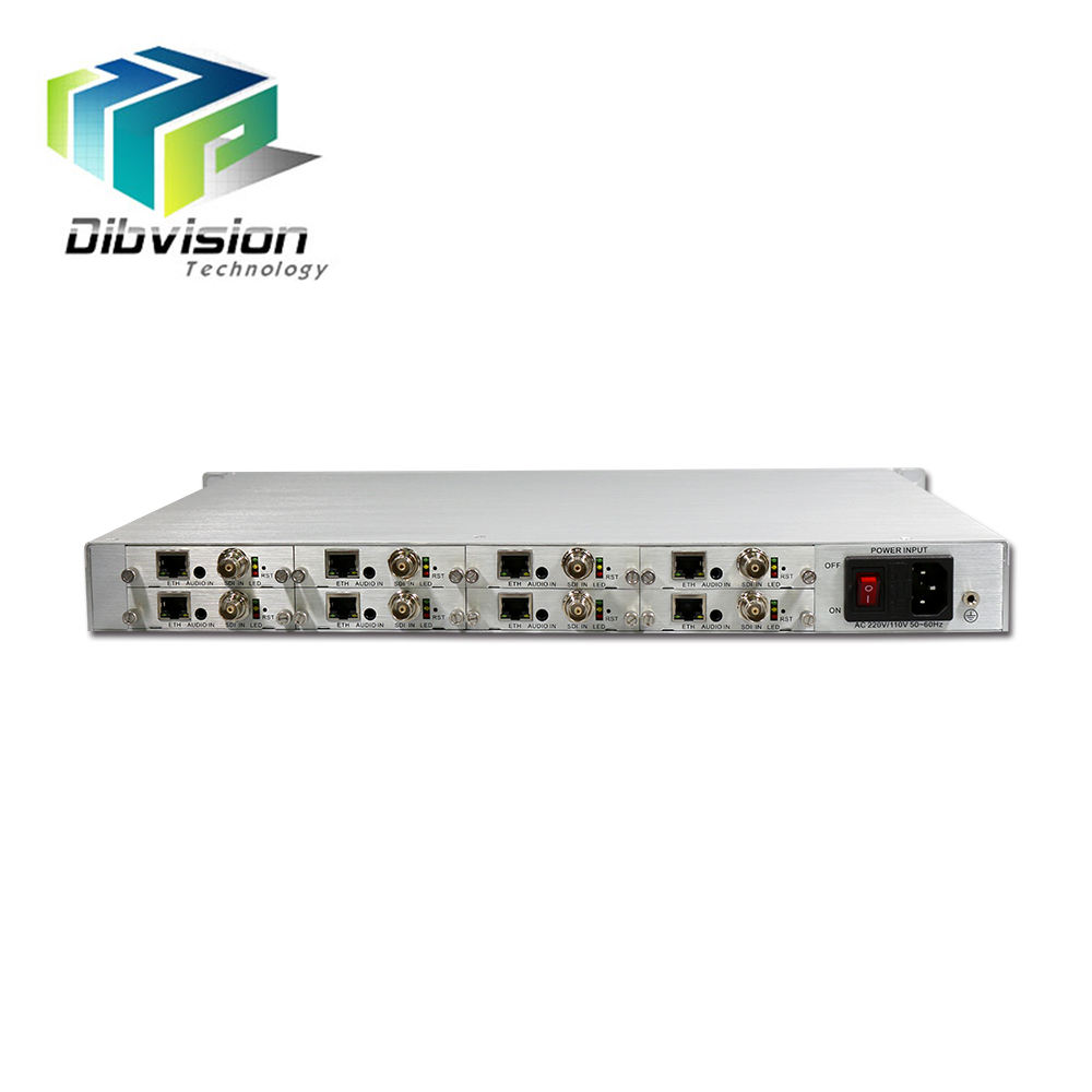 8 kanaals 1080 p 60fps Live streaming Encoder Onvif H.265 en H.264 Video over IP TV internet omroep apparatuur