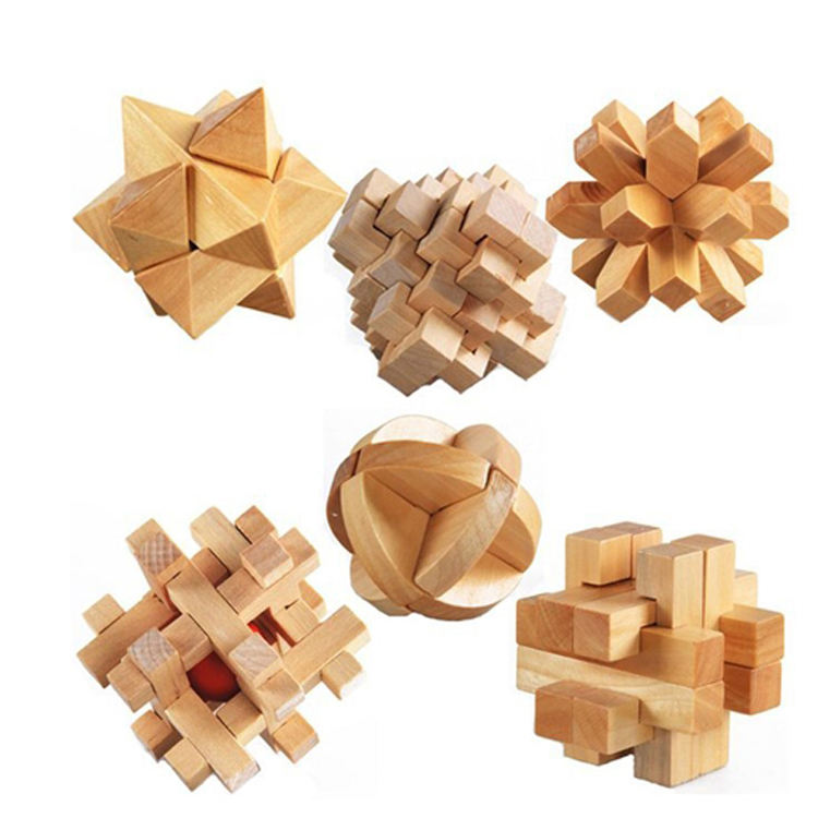 3D wooden puzzle IQ game brain toy Chinese puzzle cube for kids