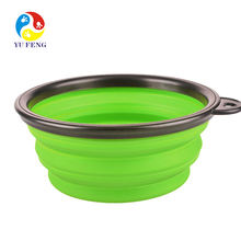 2018 Solid color Pet Cat dog Bowl folding collapsible silicone puppy doggy feeder water food container foldable style on sale