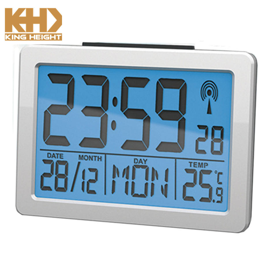 KH-CL070 2018 Kingheight Germany Britain DCF MFS Radio Controlled Clock with Alarm Clock and Snooze Function