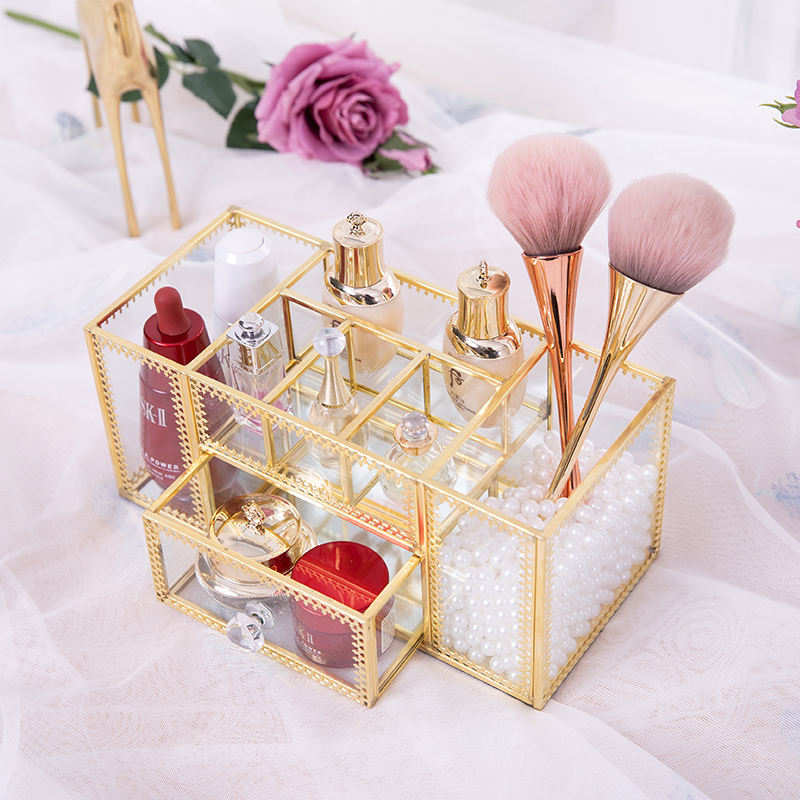 vintage style Gift Idea Large Capacity Gold 4 Layers drawers Perfume Organizer OEM customized price of makeup kit box