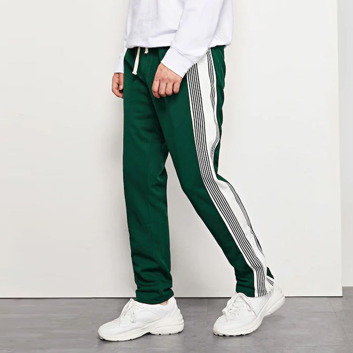 new style streetwear men tape side detail drawstring pants