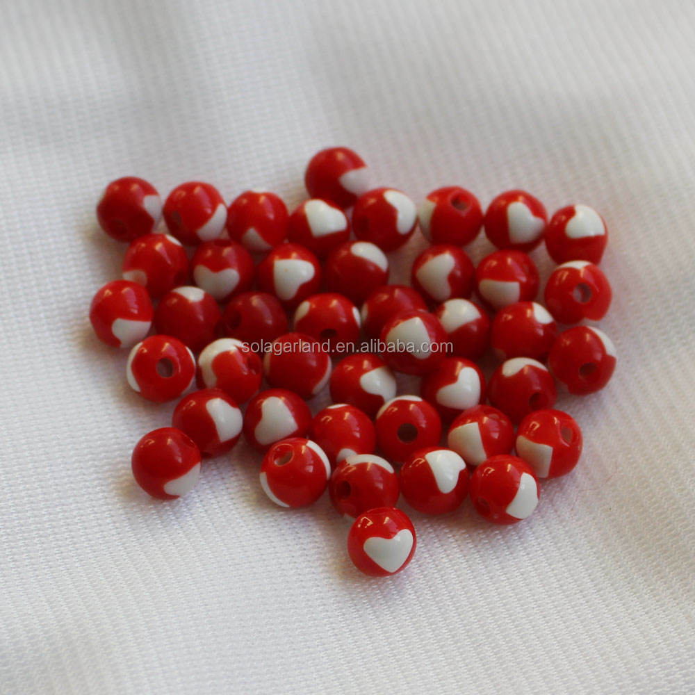 8mm Red and White Heart Acrylic Beads For Valentine's Day