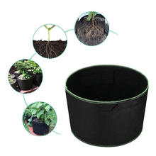 Non-woven Fabric Plant Growing Pot Container with Strap Handle for Garden or Balcony 8 Gal -Black+Green Lining (Pack of 4)