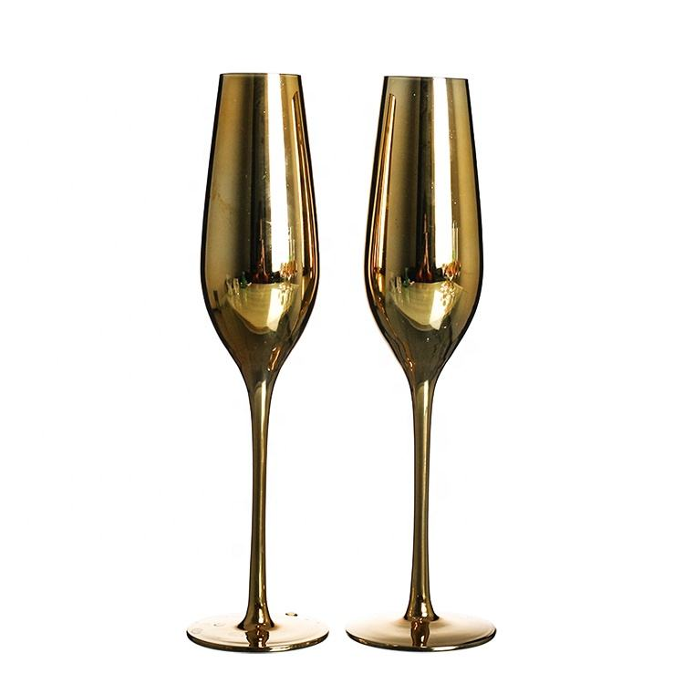 Wholesale gold plated champagne flutes glass for Party wedding