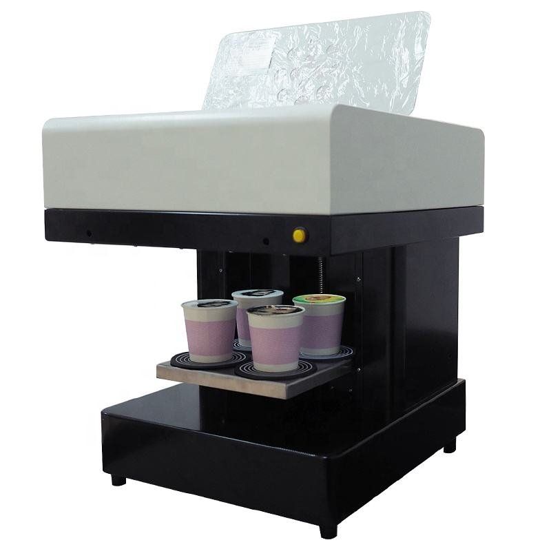 3D Latte Art Coffee printer for cake with 4 cups print with edible ink cartridge