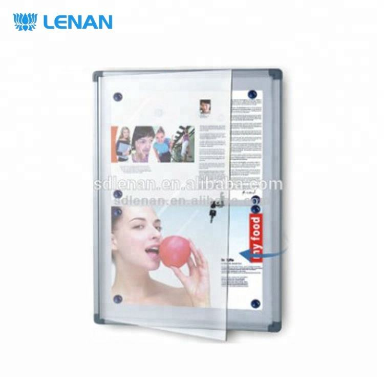 Shatterproof acrylic door with window magnetic or cork surface display show case notice bulletin white board